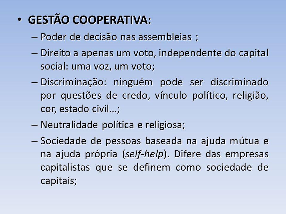 GESTÃO COOPERATIVA: GESTÃO COOPERATIVA: – Poder de decisão nas assembleias ; – Direito a apenas um voto, independente do capital social: uma voz, um v