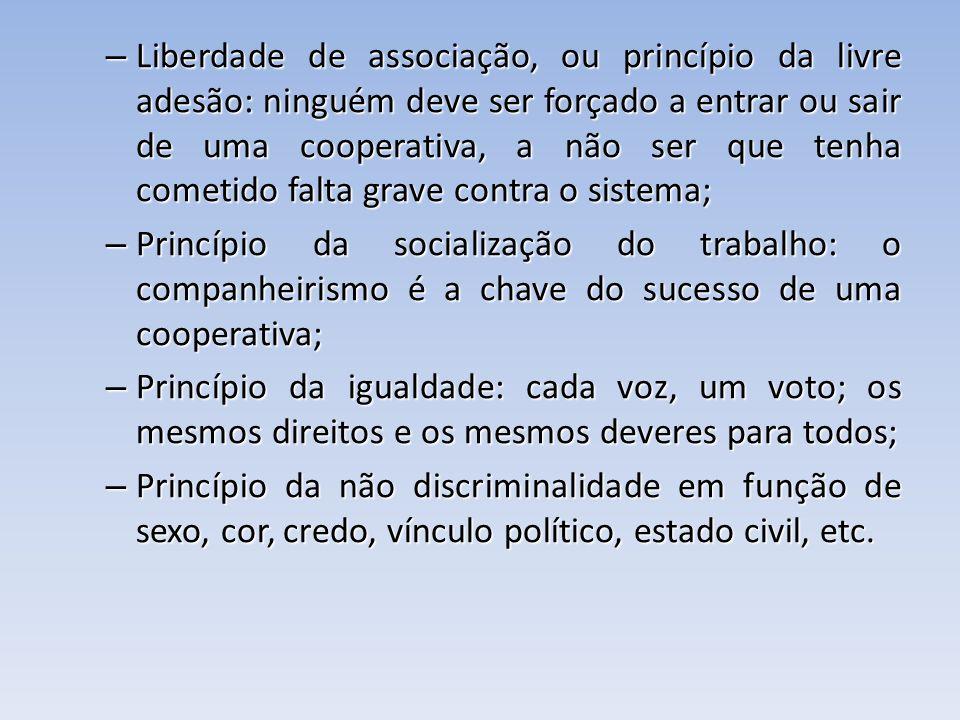 – Liberdade de associação, ou princípio da livre adesão: ninguém deve ser forçado a entrar ou sair de uma cooperativa, a não ser que tenha cometido fa