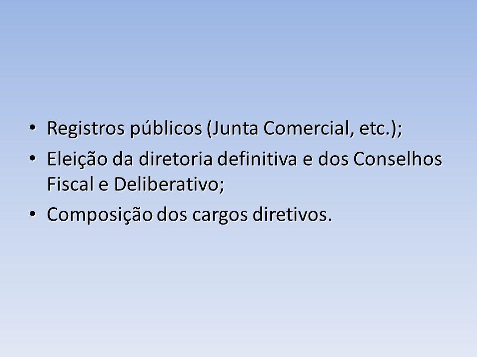 Registros públicos (Junta Comercial, etc.); Registros públicos (Junta Comercial, etc.); Eleição da diretoria definitiva e dos Conselhos Fiscal e Delib
