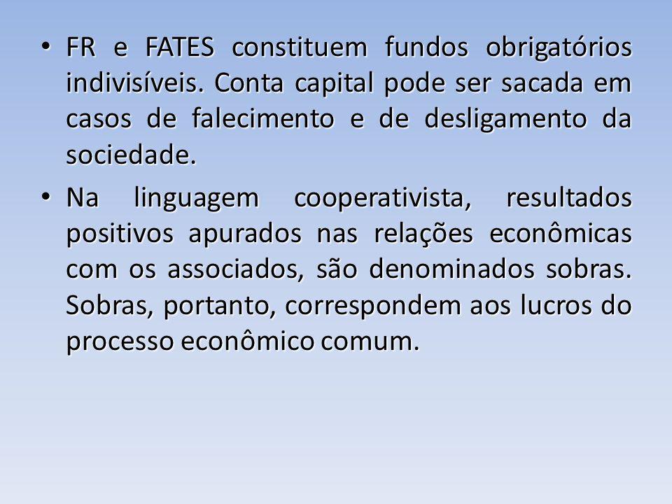 FR e FATES constituem fundos obrigatórios indivisíveis. Conta capital pode ser sacada em casos de falecimento e de desligamento da sociedade. FR e FAT