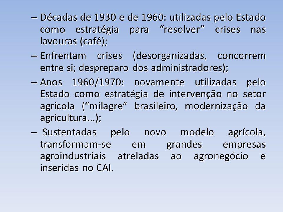 – Décadas de 1930 e de 1960: utilizadas pelo Estado como estratégia para resolver crises nas lavouras (café); – Enfrentam crises (desorganizadas, conc