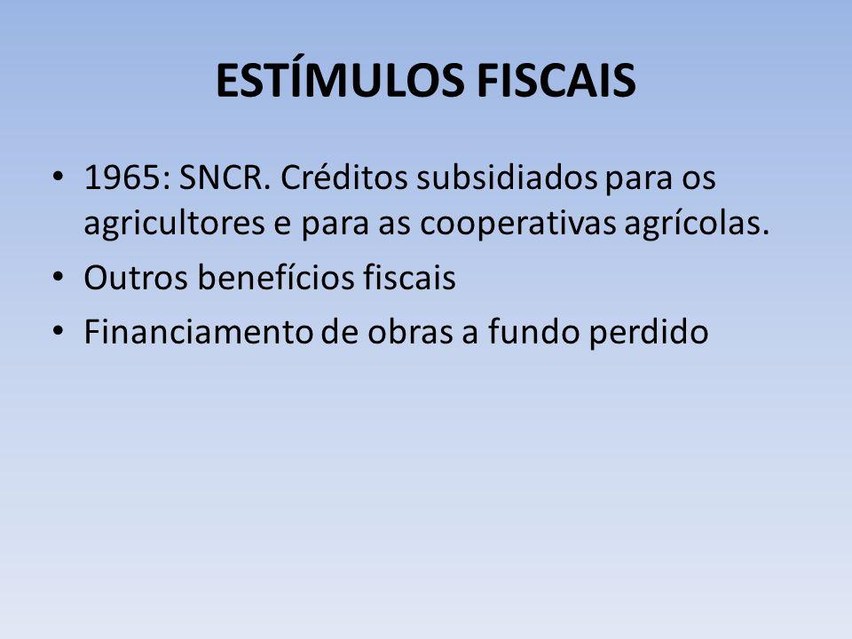 ESTÍMULOS FISCAIS 1965: SNCR. Créditos subsidiados para os agricultores e para as cooperativas agrícolas. Outros benefícios fiscais Financiamento de o