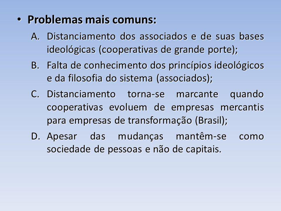 Problemas mais comuns: Problemas mais comuns: A.Distanciamento dos associados e de suas bases ideológicas (cooperativas de grande porte); B.Falta de c