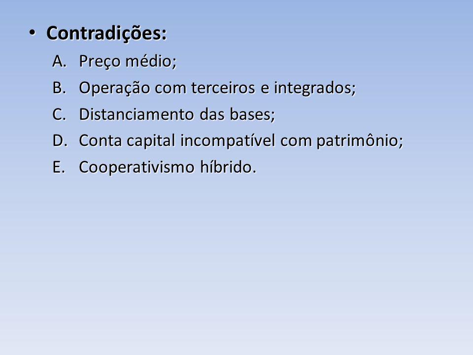 Contradições: Contradições: A.Preço médio; B.Operação com terceiros e integrados; C.Distanciamento das bases; D.Conta capital incompatível com patrimô