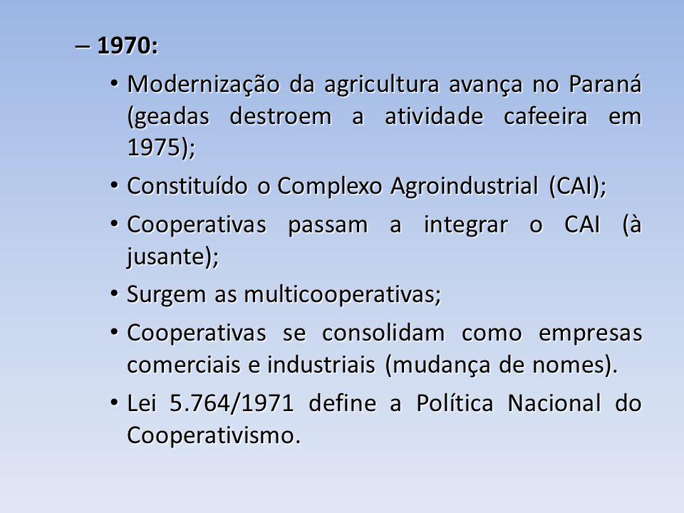 – 1970: Modernização da agricultura avança no Paraná (geadas destroem a atividade cafeeira em 1975); Modernização da agricultura avança no Paraná (gea