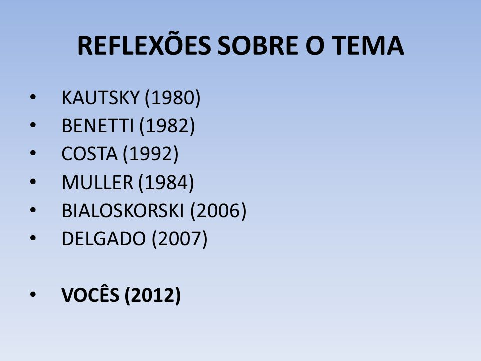 KAUTSKY (1980) BENETTI (1982) COSTA (1992) MULLER (1984) BIALOSKORSKI (2006) DELGADO (2007) VOCÊS (2012) k REFLEXÕES SOBRE O TEMA