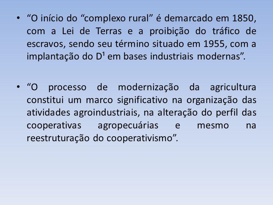 O início do complexo rural é demarcado em 1850, com a Lei de Terras e a proibição do tráfico de escravos, sendo seu término situado em 1955, com a imp