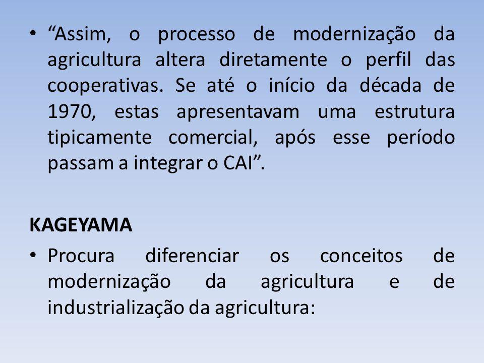 Assim, o processo de modernização da agricultura altera diretamente o perfil das cooperativas. Se até o início da década de 1970, estas apresentavam u