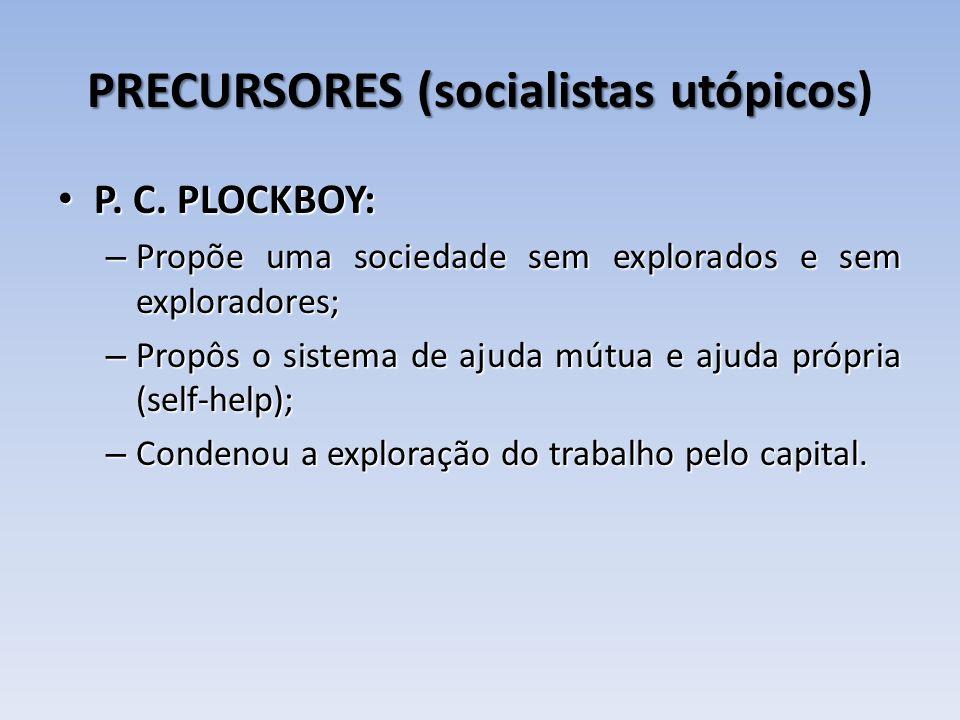 PRECURSORES (socialistas utópicos PRECURSORES (socialistas utópicos) P. C. PLOCKBOY: P. C. PLOCKBOY: – Propõe uma sociedade sem explorados e sem explo