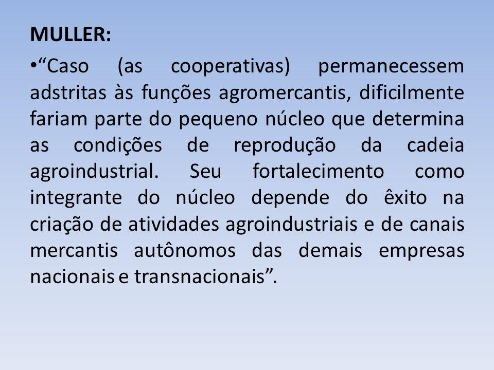 MULLER: Caso (as cooperativas) permanecessem adstritas às funções agromercantis, dificilmente fariam parte do pequeno núcleo que determina as condiçõe