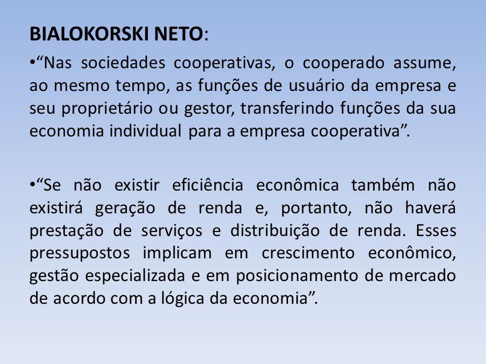 BIALOKORSKI NETO: Nas sociedades cooperativas, o cooperado assume, ao mesmo tempo, as funções de usuário da empresa e seu proprietário ou gestor, tran