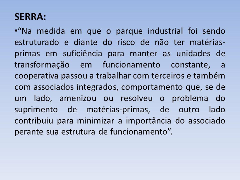SERRA: Na medida em que o parque industrial foi sendo estruturado e diante do risco de não ter matérias- primas em suficiência para manter as unidades