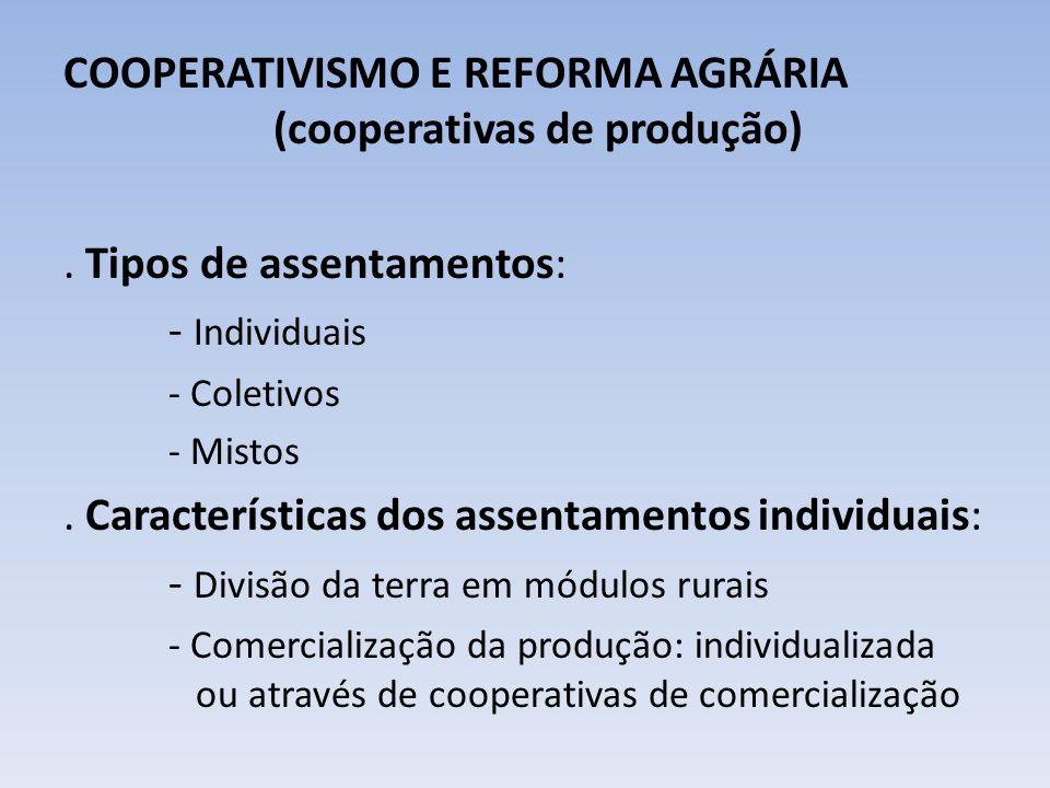 COOPERATIVISMO E REFORMA AGRÁRIA (cooperativas de produção). Tipos de assentamentos: - Individuais - Coletivos - Mistos. Características dos assentame