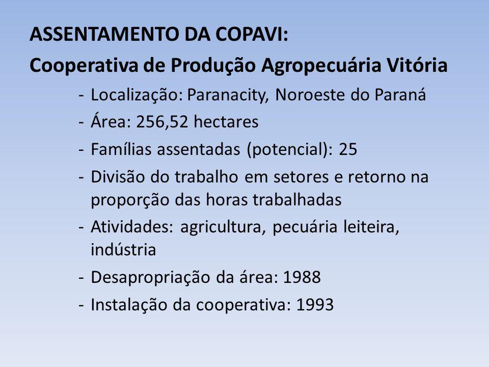 ASSENTAMENTO DA COPAVI: Cooperativa de Produção Agropecuária Vitória -Localização: Paranacity, Noroeste do Paraná -Área: 256,52 hectares -Famílias ass