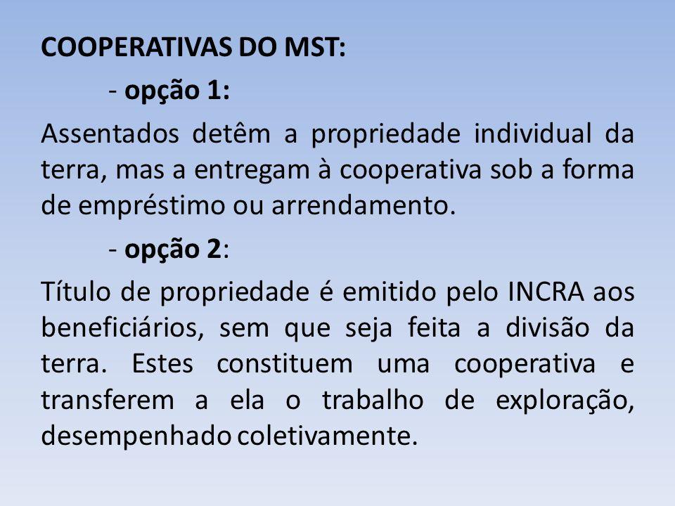 COOPERATIVAS DO MST: - opção 1: Assentados detêm a propriedade individual da terra, mas a entregam à cooperativa sob a forma de empréstimo ou arrendam