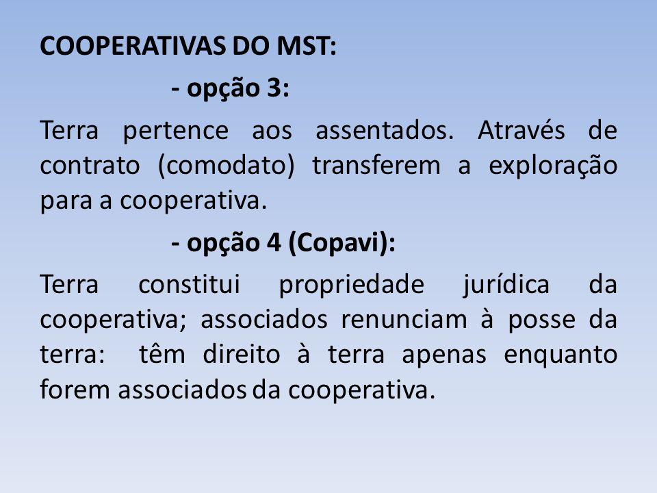 COOPERATIVAS DO MST: - opção 3: Terra pertence aos assentados. Através de contrato (comodato) transferem a exploração para a cooperativa. - opção 4 (C