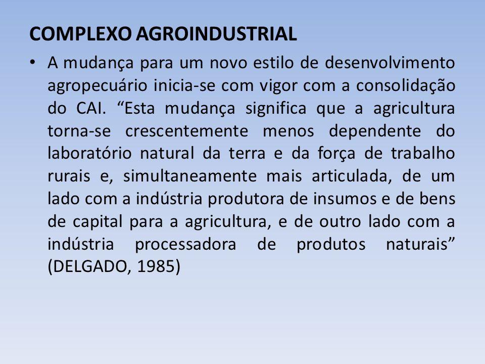 COMPLEXO AGROINDUSTRIAL A mudança para um novo estilo de desenvolvimento agropecuário inicia-se com vigor com a consolidação do CAI. Esta mudança sign