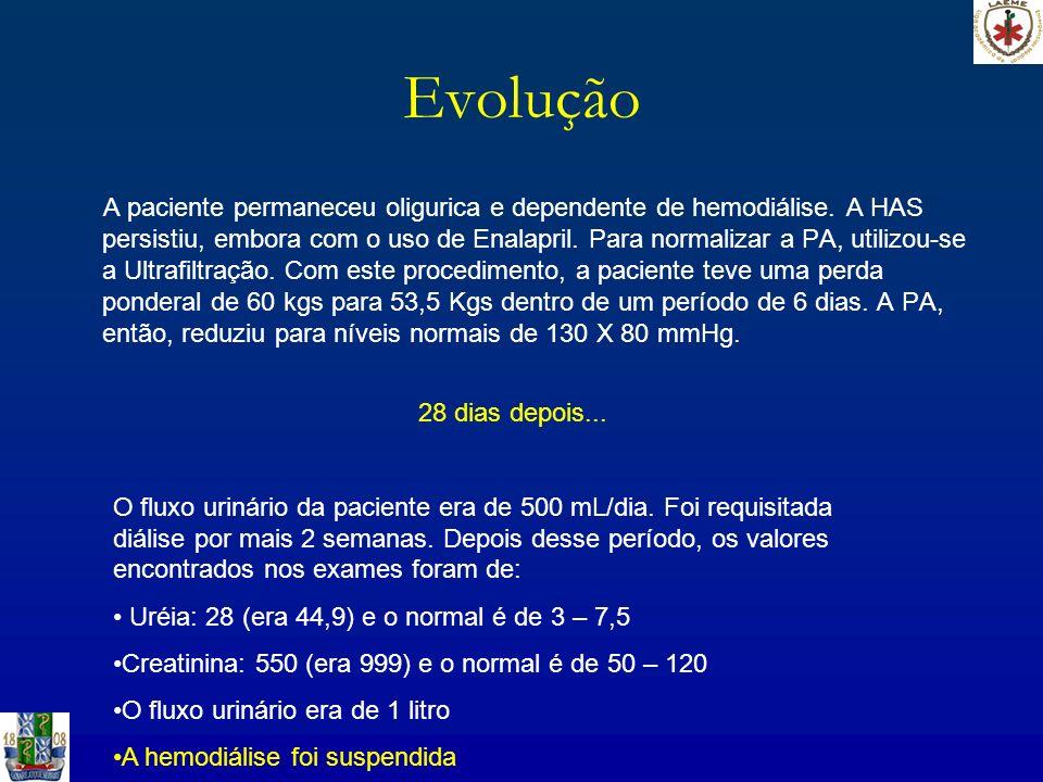 Evolução A paciente permaneceu oligurica e dependente de hemodiálise. A HAS persistiu, embora com o uso de Enalapril. Para normalizar a PA, utilizou-s