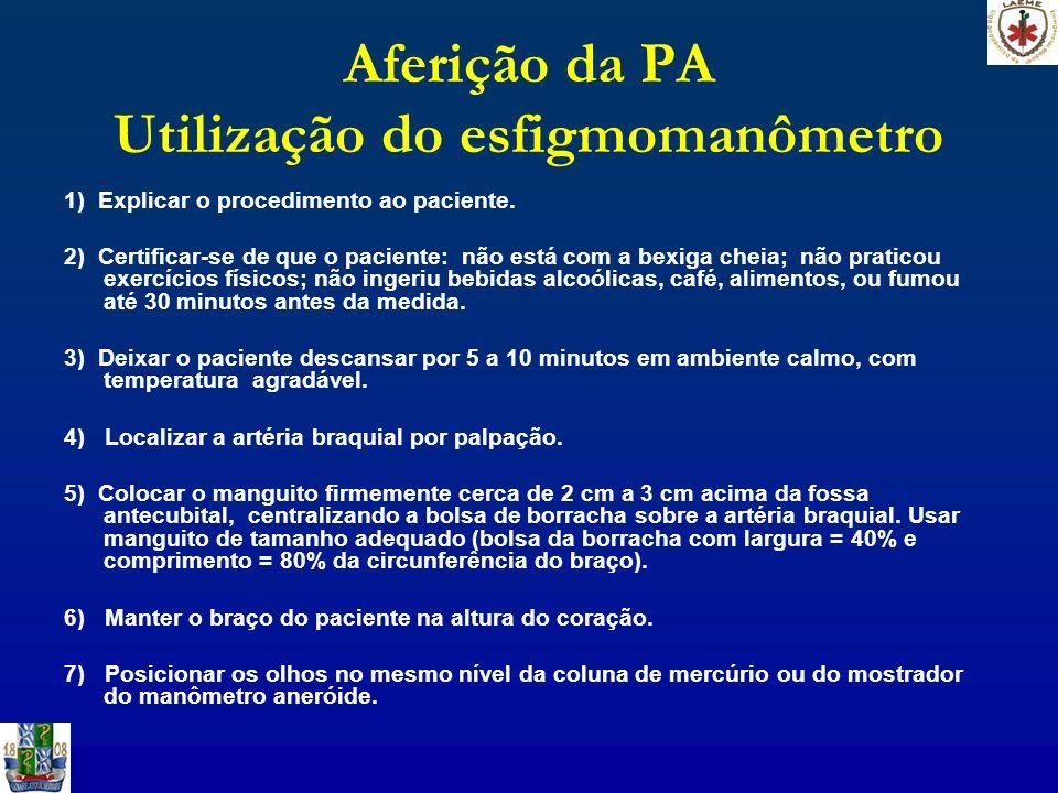 Aferição da PA Utilização do esfigmomanômetro 1) Explicar o procedimento ao paciente. 2) Certificar-se de que o paciente: não está com a bexiga cheia;