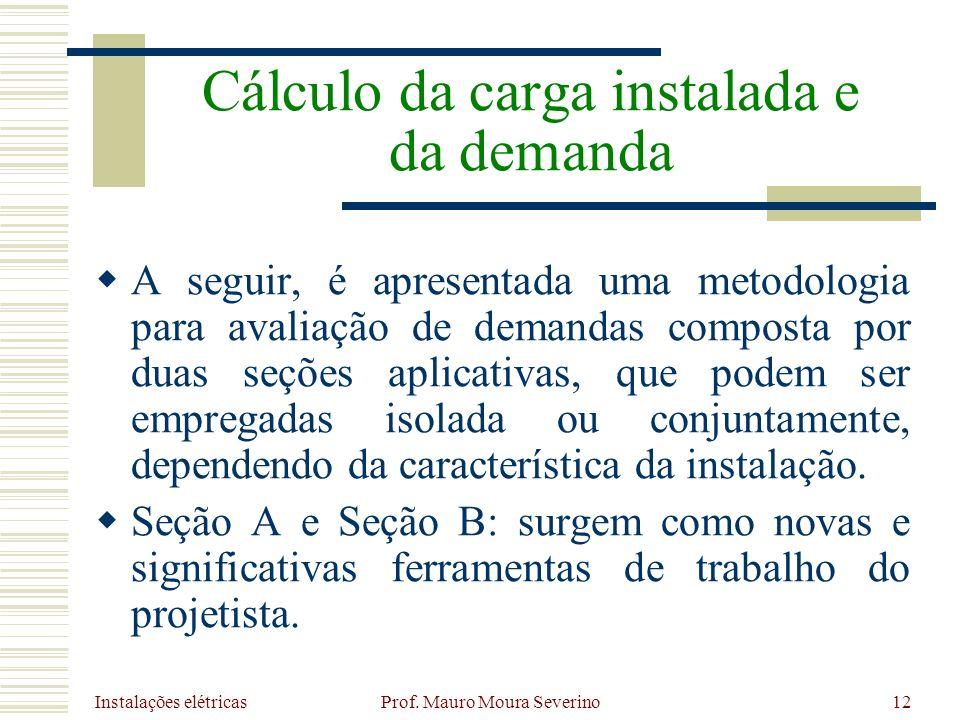 Instalações elétricas Prof. Mauro Moura Severino12 A seguir, é apresentada uma metodologia para avaliação de demandas composta por duas seções aplicat