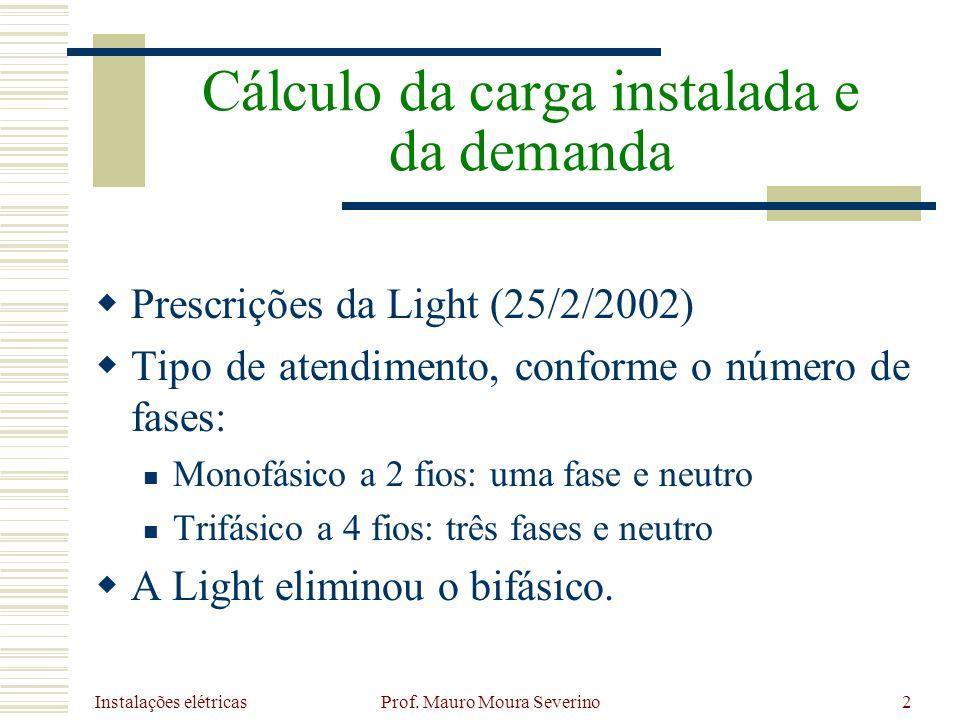 Instalações elétricas Prof. Mauro Moura Severino2 Prescrições da Light (25/2/2002) Tipo de atendimento, conforme o número de fases: Monofásico a 2 fio