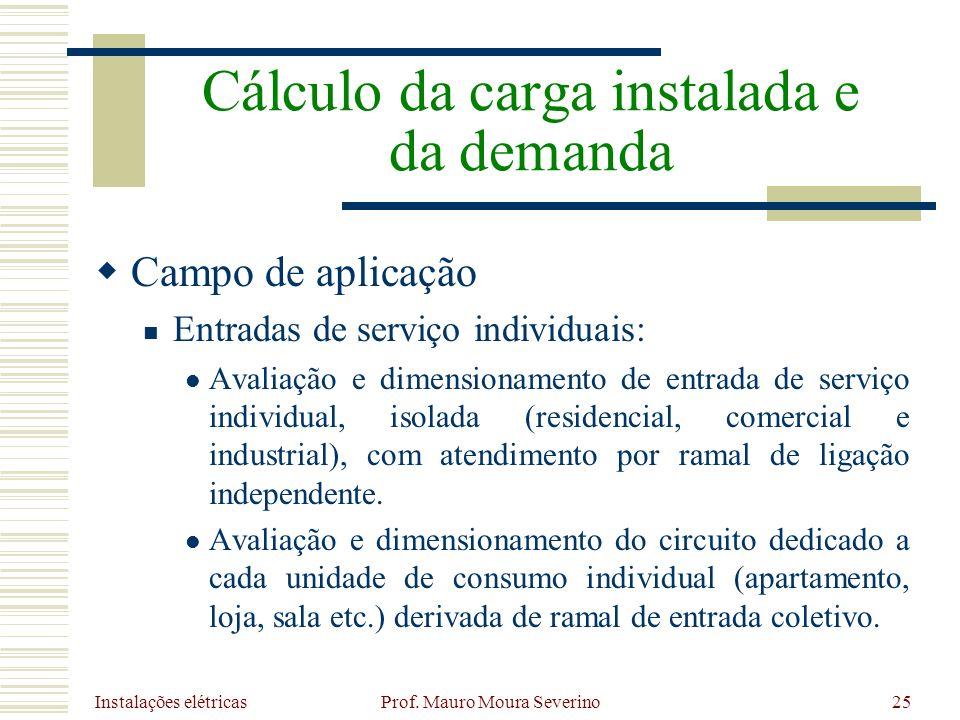 Instalações elétricas Prof. Mauro Moura Severino25 Campo de aplicação Entradas de serviço individuais: Avaliação e dimensionamento de entrada de servi