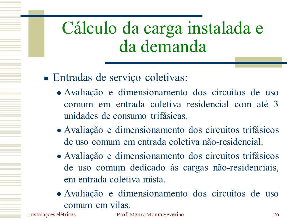 Instalações elétricas Prof. Mauro Moura Severino26 Entradas de serviço coletivas: Avaliação e dimensionamento dos circuitos de uso comum em entrada co