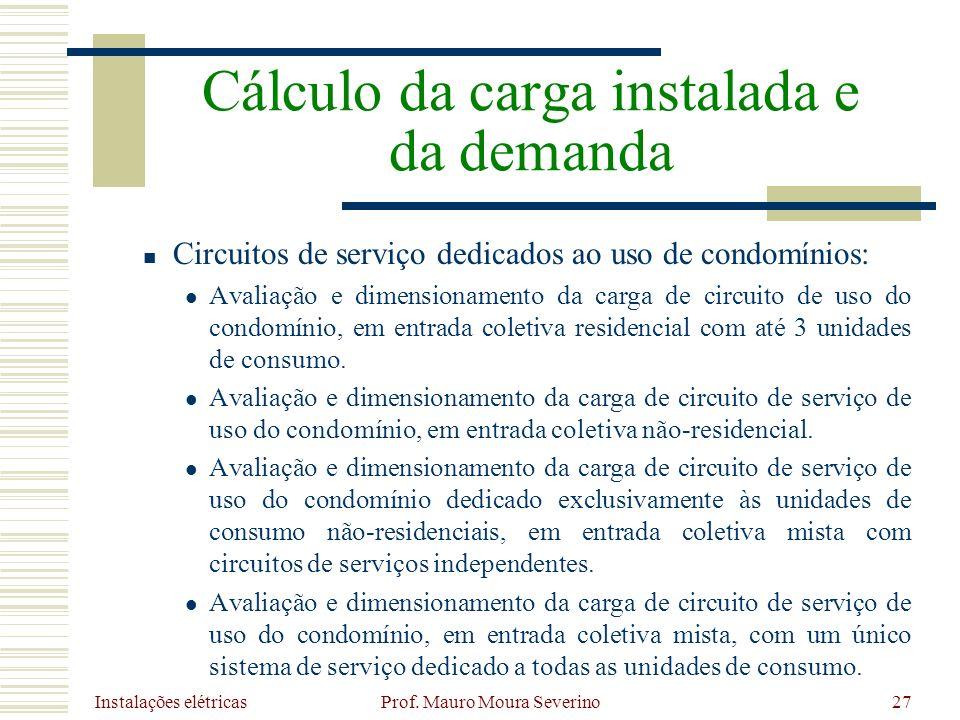 Instalações elétricas Prof. Mauro Moura Severino27 Circuitos de serviço dedicados ao uso de condomínios: Avaliação e dimensionamento da carga de circu