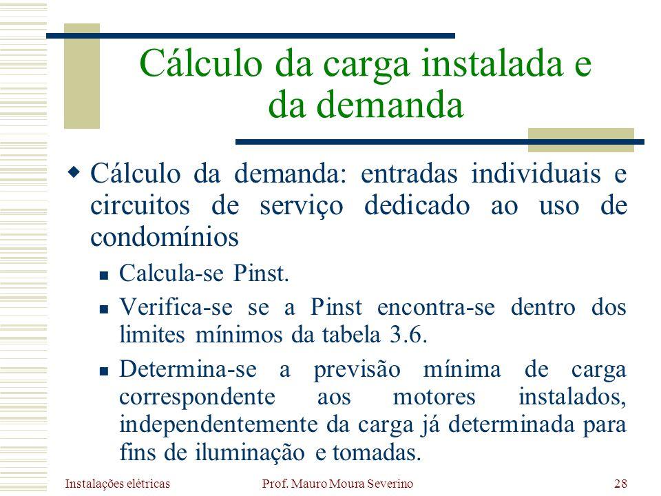 Instalações elétricas Prof. Mauro Moura Severino28 Cálculo da demanda: entradas individuais e circuitos de serviço dedicado ao uso de condomínios Calc