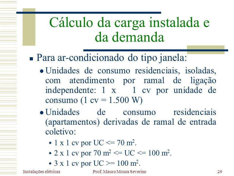 Instalações elétricas Prof. Mauro Moura Severino29 Para ar-condicionado do tipo janela: Unidades de consumo residenciais, isoladas, com atendimento po