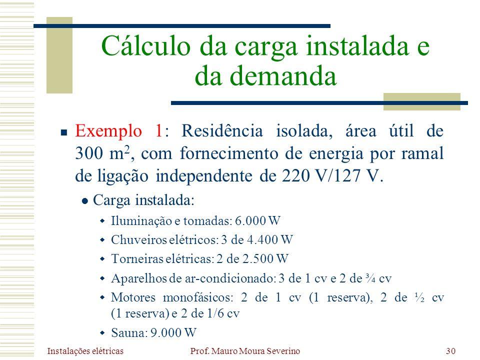 Instalações elétricas Prof. Mauro Moura Severino30 Exemplo 1: Residência isolada, área útil de 300 m 2, com fornecimento de energia por ramal de ligaç