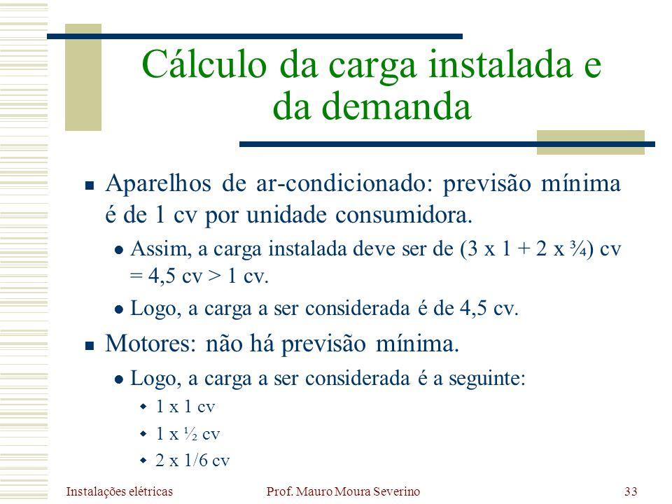 Instalações elétricas Prof. Mauro Moura Severino33 Aparelhos de ar-condicionado: previsão mínima é de 1 cv por unidade consumidora. Assim, a carga ins