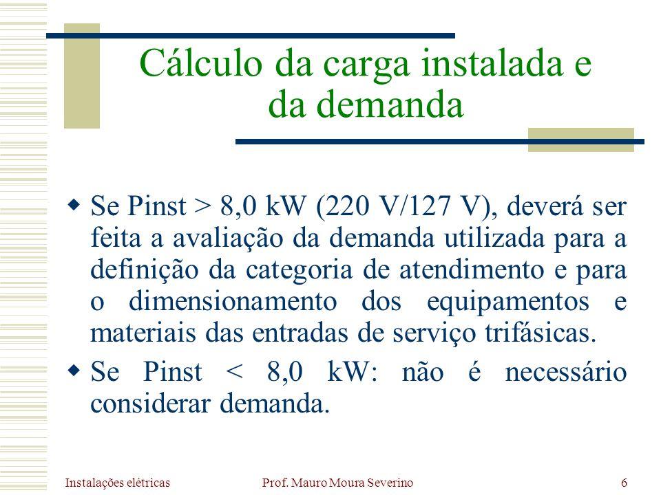 Instalações elétricas Prof. Mauro Moura Severino6 Se Pinst > 8,0 kW (220 V/127 V), deverá ser feita a avaliação da demanda utilizada para a definição