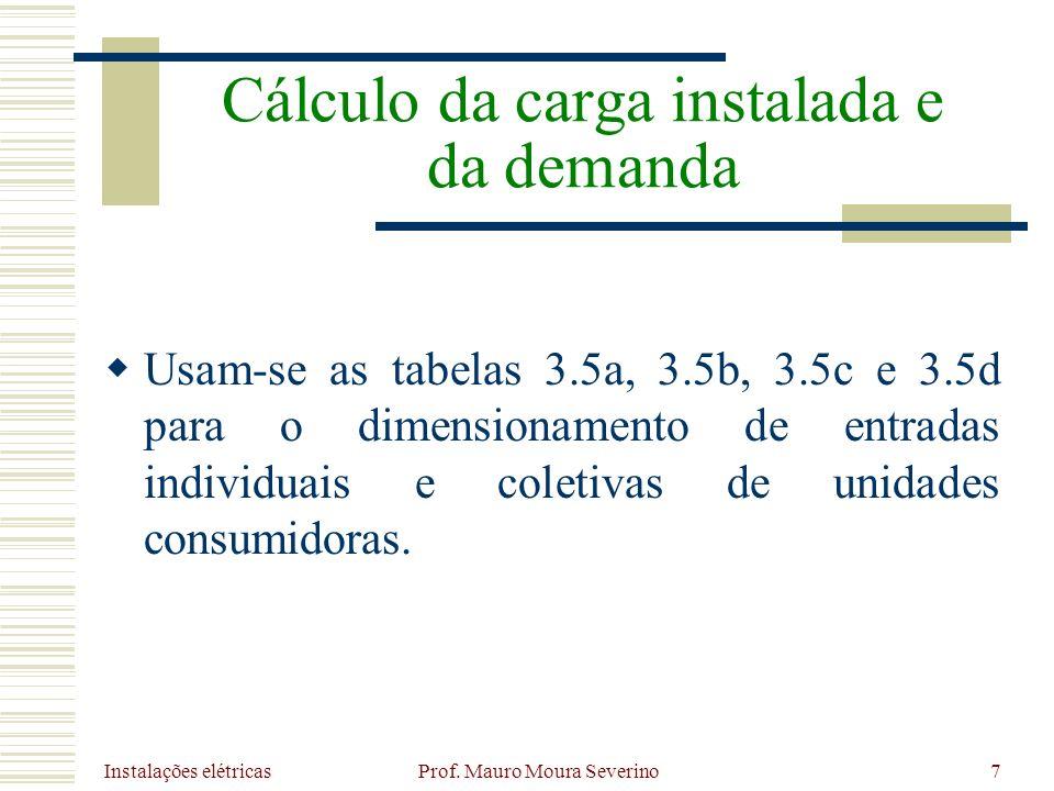 Instalações elétricas Prof. Mauro Moura Severino7 Usam-se as tabelas 3.5a, 3.5b, 3.5c e 3.5d para o dimensionamento de entradas individuais e coletiva
