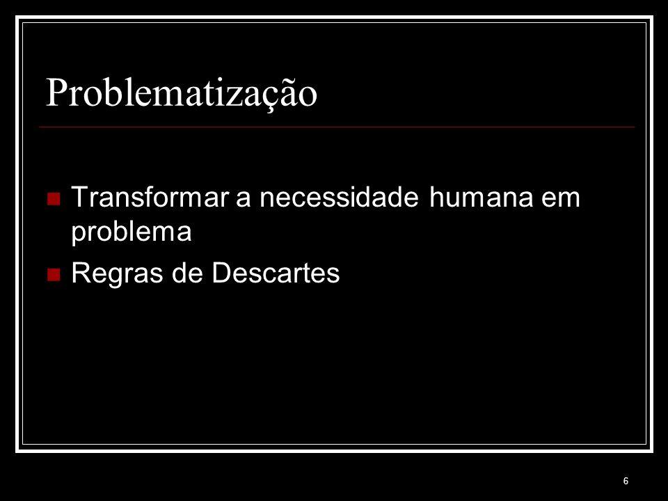 6 Problematização Transformar a necessidade humana em problema Regras de Descartes