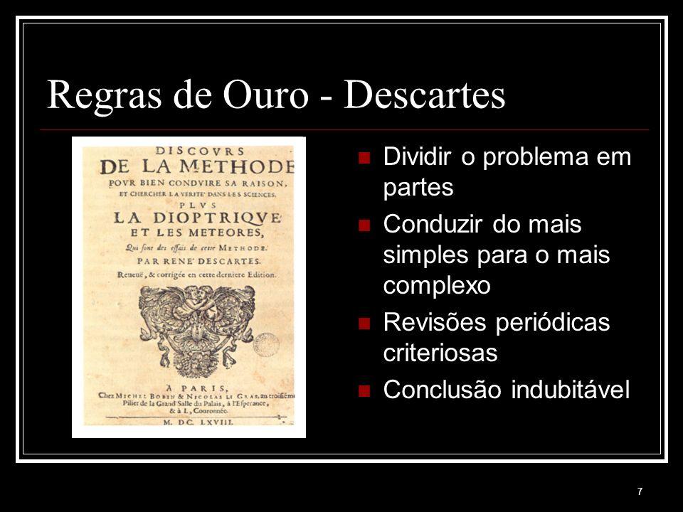 7 Regras de Ouro - Descartes Dividir o problema em partes Conduzir do mais simples para o mais complexo Revisões periódicas criteriosas Conclusão indubitável