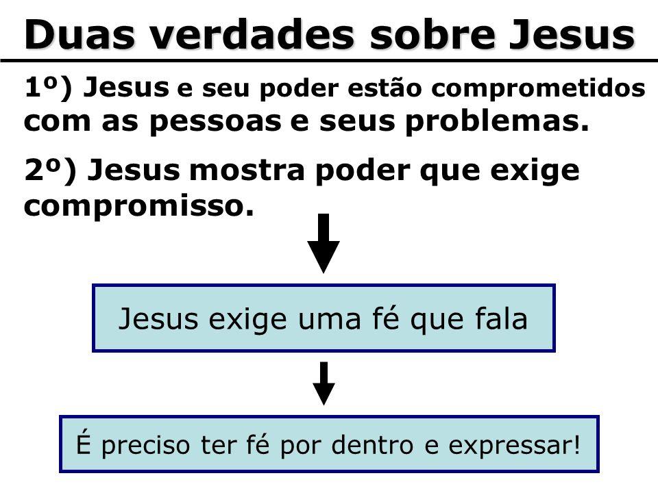 Duas verdades sobre Jesus 1º) Jesus e seu poder estão comprometidos com as pessoas e seus problemas. 2º) Jesus mostra poder que exige compromisso. Jes