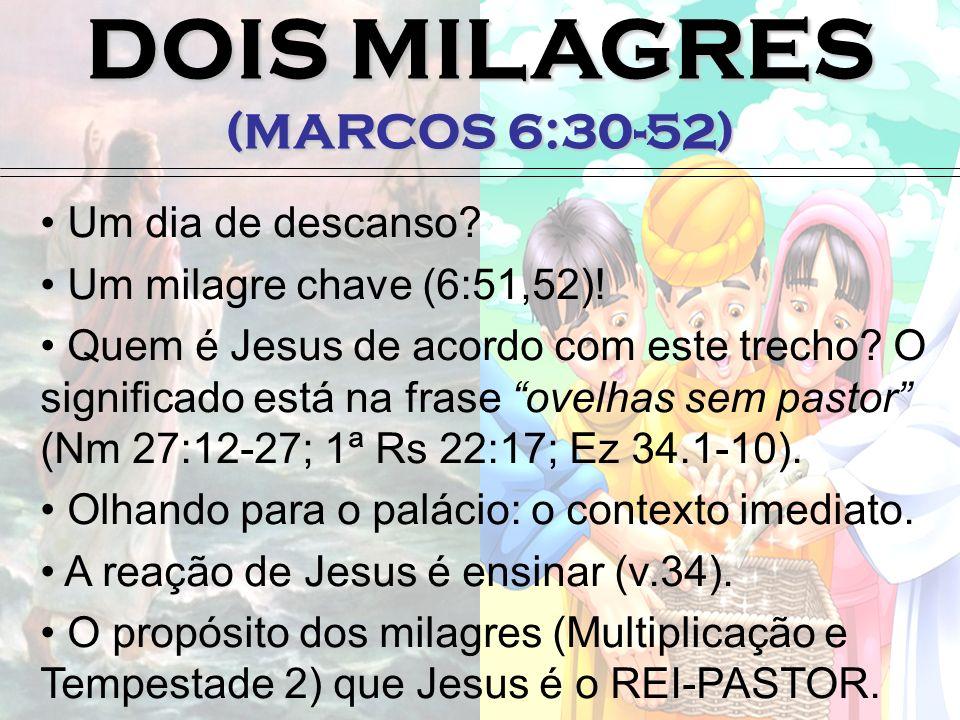 DOIS MILAGRES (MARCOS 6:30-52) Um dia de descanso? Um milagre chave (6:51,52)! Quem é Jesus de acordo com este trecho? O significado está na frase ove