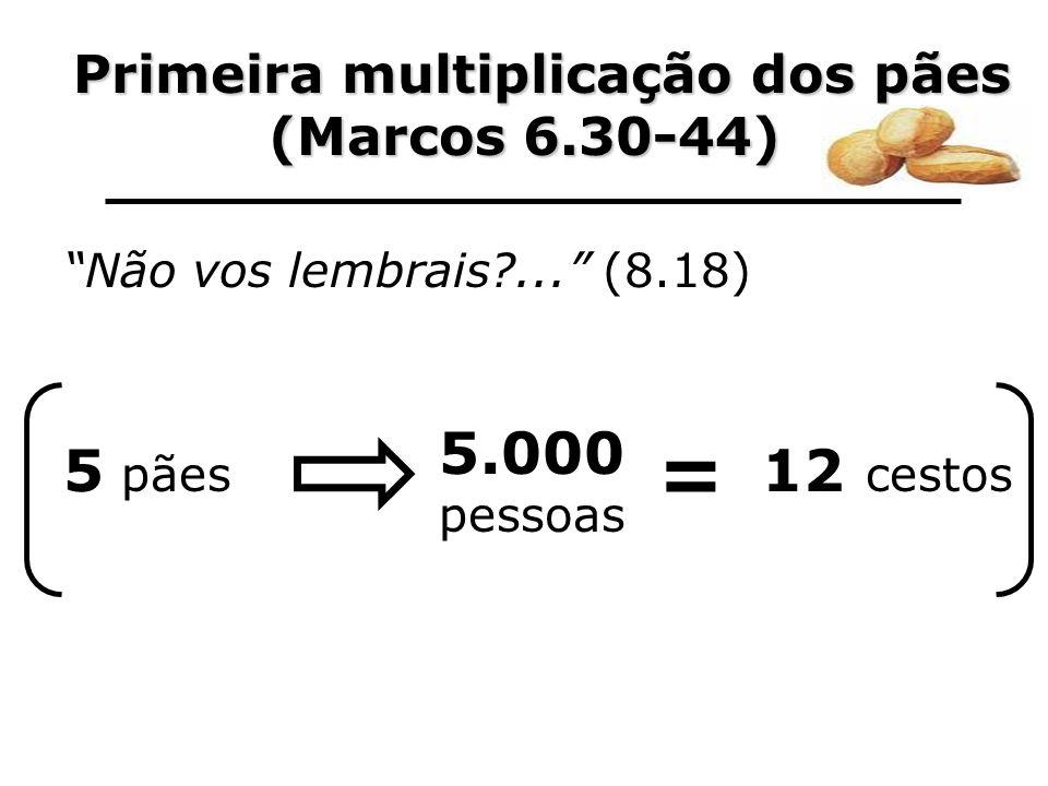 Primeira multiplicação dos pães Primeira multiplicação dos pães (Marcos 6.30-44) Não vos lembrais?... (8.18) 5 pães 5.000 pessoas = 12 cestos