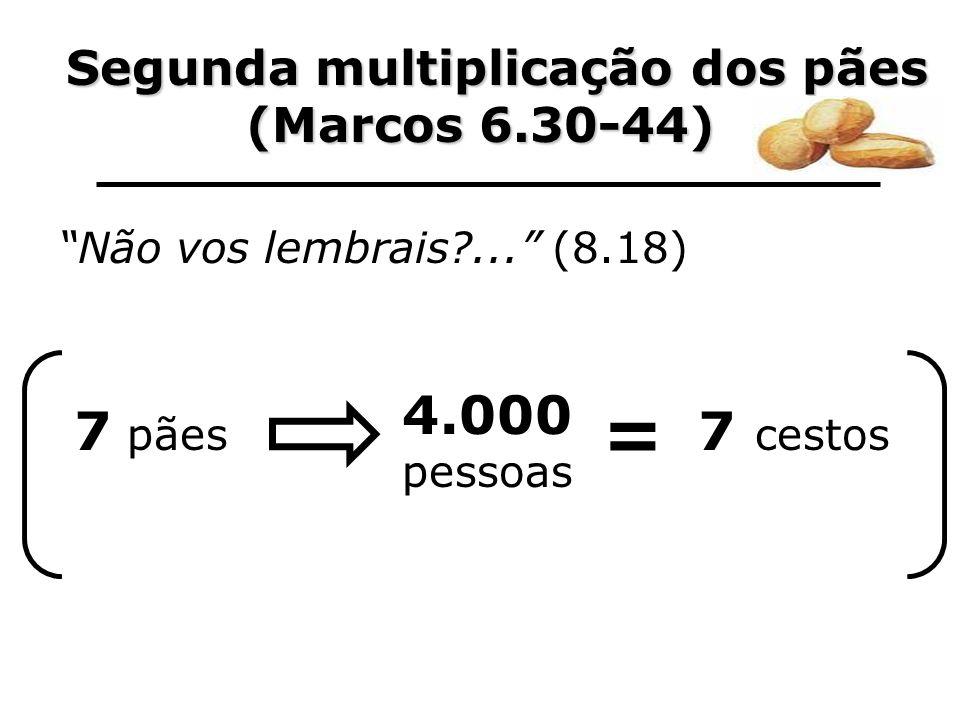 Segunda multiplicação dos pães Segunda multiplicação dos pães (Marcos 6.30-44) Não vos lembrais?... (8.18) 7 pães 4.000 pessoas = 7 cestos