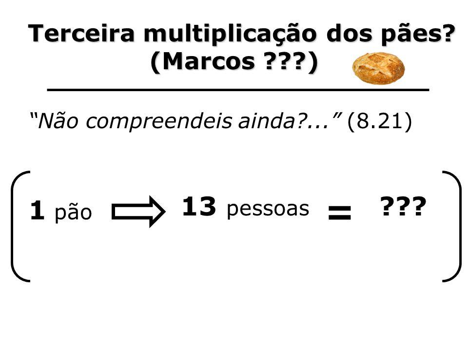 Terceira multiplicação dos pães? Terceira multiplicação dos pães? (Marcos ???) Não compreendeis ainda?... (8.21) 1 pão 13 pessoas = ???