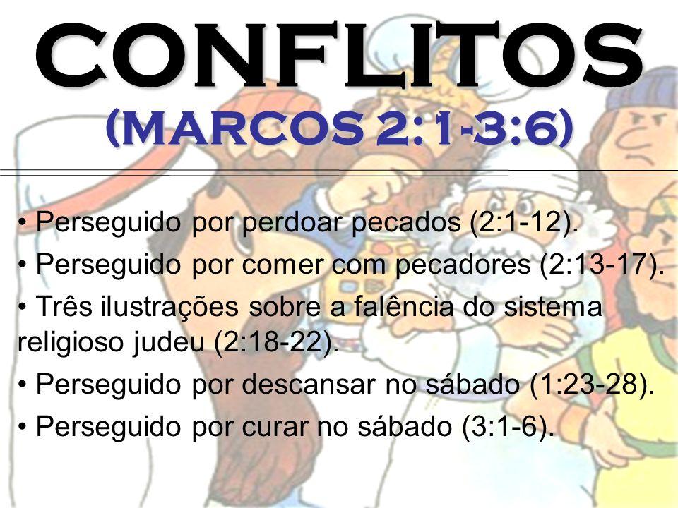 CONFLITOS (MARCOS 2:1-3:6) Perseguido por perdoar pecados (2:1-12). Perseguido por comer com pecadores (2:13-17). Três ilustrações sobre a falência do