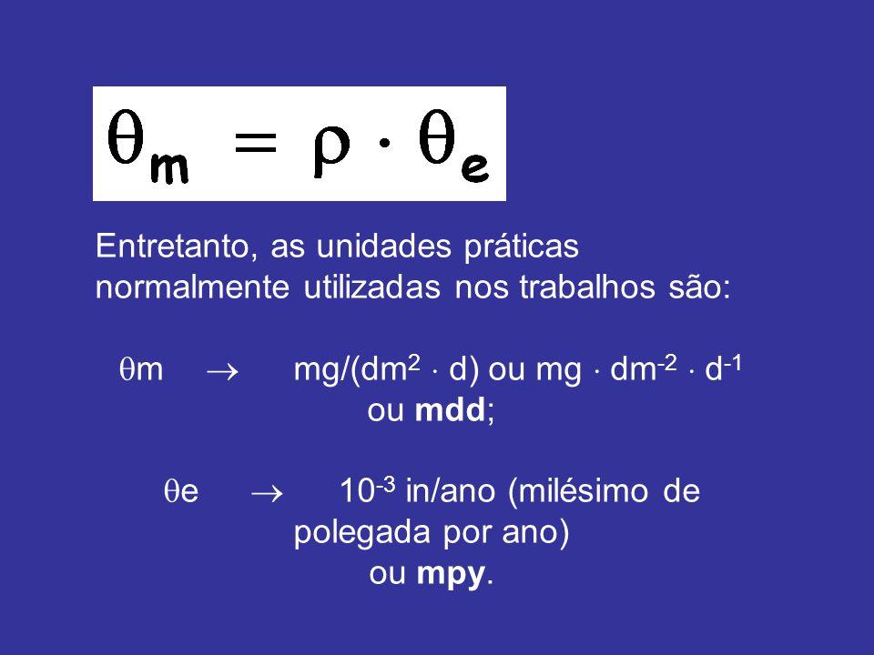 Entretanto, as unidades práticas normalmente utilizadas nos trabalhos são: m mg/(dm 2 d) ou mg dm -2 d -1 ou mdd; e 10 -3 in/ano (milésimo de polegada