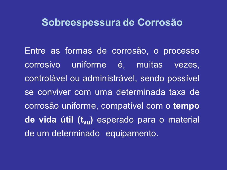 Sobreespessura de Corrosão Entre as formas de corrosão, o processo corrosivo uniforme é, muitas vezes, controlável ou administrável, sendo possível se