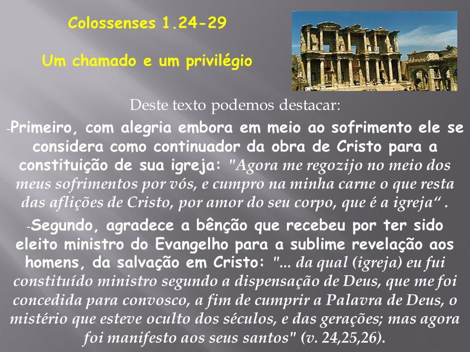 Deste texto podemos destacar: - Primeiro, com alegria embora em meio ao sofrimento ele se considera como continuador da obra de Cristo para a constitu