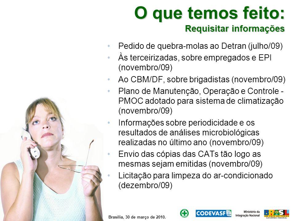 Brasília, 30 de março de 2010. O que temos feito: Requisitar informações Pedido de quebra-molas ao Detran (julho/09) Às terceirizadas, sobre empregado