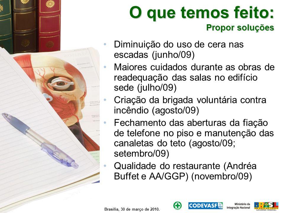 Brasília, 30 de março de 2010. O que temos feito: Propor soluções Diminuição do uso de cera nas escadas (junho/09) Maiores cuidados durante as obras d