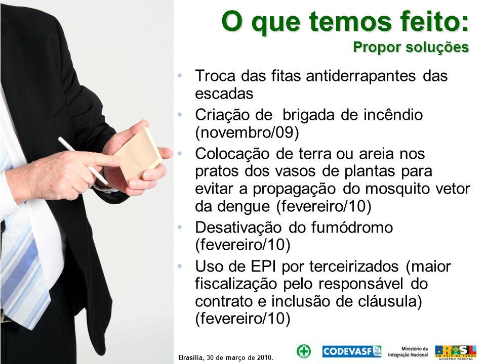 Brasília, 30 de março de 2010. O que temos feito: Propor soluções Troca das fitas antiderrapantes das escadas Criação de brigada de incêndio (novembro