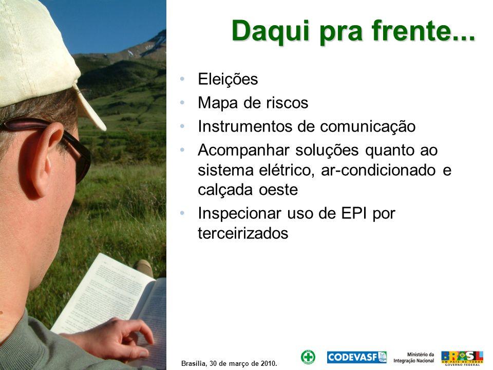 Brasília, 30 de março de 2010. Daqui pra frente... Eleições Mapa de riscos Instrumentos de comunicação Acompanhar soluções quanto ao sistema elétrico,