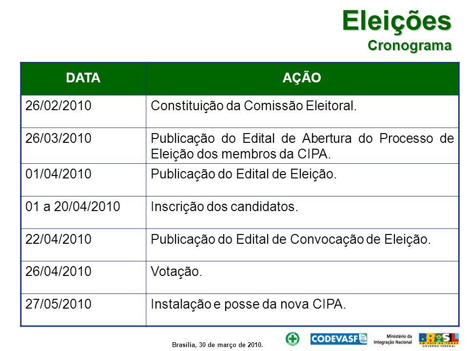 Brasília, 30 de março de 2010. Eleições Cronograma DATAAÇÃO 26/02/2010Constituição da Comissão Eleitoral. 26/03/2010Publicação do Edital de Abertura d